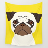 pug Wall Tapestries featuring Pug by afzucatti