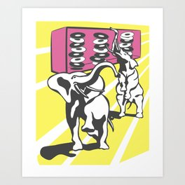 All the dishes rattle in the cupboards when the elephants arrive Art Print