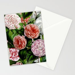Vintage & Shabby Chic Green Large Dark Floral Camellia  Flowers Watercolor Pattern Stationery Cards
