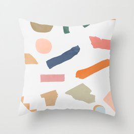 Mix of color shapes happy artwork Throw Pillow