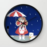 bee and puppycat Wall Clocks featuring Bee and Puppycat in the Rain by Paul Scott (Dracula is Still a Threat)