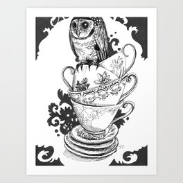 Baby Owl in Antique Teacups  Art Print