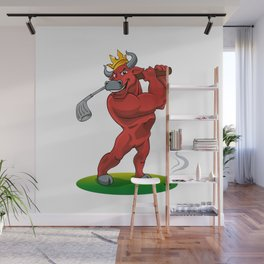 bull with a stick for a golf Wall Mural