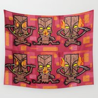 tiki Wall Tapestries featuring TIKI GODS by Punkboy Marti
