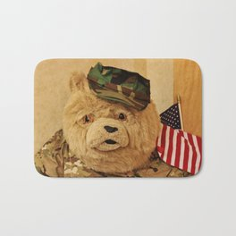 Teddy Bear In Uniform Bath Mat