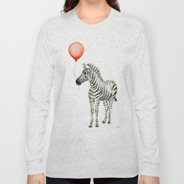Baby Zebra with Red Balloon Long Sleeve T-shirt