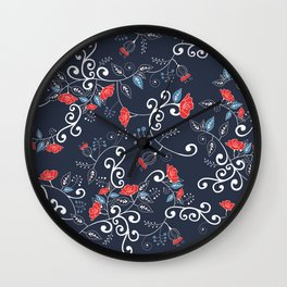 Floral Blue Wall Clock