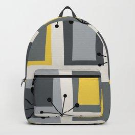 Mid Century Modern Art 'Wonky Doors' Yellow Gray Backpack