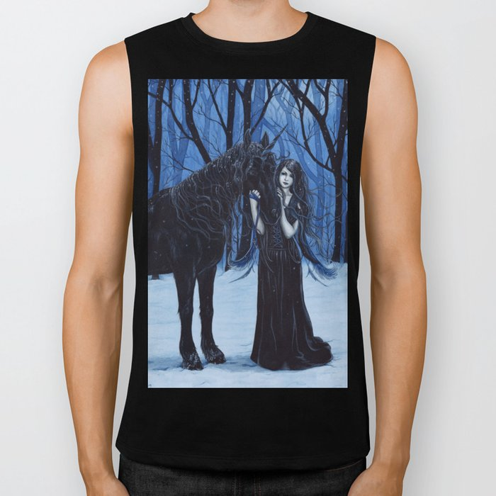 Midnight Travelers Gothic Fairy and Unicorn Biker Tank