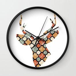 DEER SILHOUETTE HEAD WITH PATTERN Wall Clock