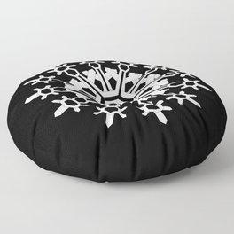 Snowflake Medallion B&W Floor Pillow