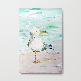 Seagull - Acrylic Palette Knife on Wood  Metal Print