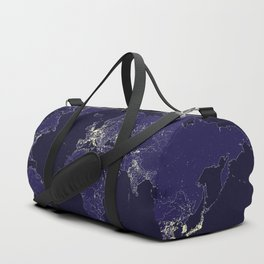 The world map at night with outlined countries Duffle Bag
