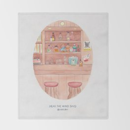Haruki Murakami's Hear the Wind Sing // Illustration of a Japanese Bar in Watercolour and Pencil Throw Blanket