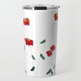Red flowers in the snow Travel Mug