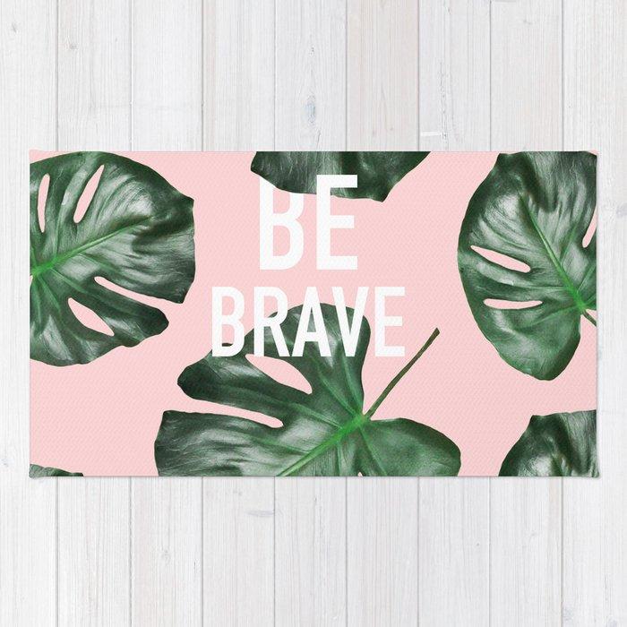 Modern White Be Brave Motivation Typography Green Monstera Leaf Rug