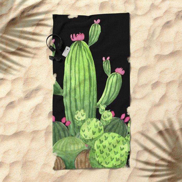 Flowering Cactus Bunch on Black Beach Towel