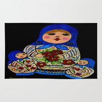 russian Area & Throw Rugs featuring Russian dolls by maggs326