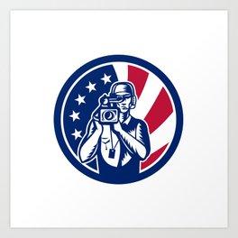 American Cameraman USA Flag Icon Art Print