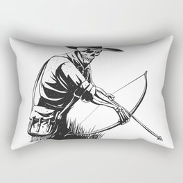 Cowboy skeleton with crossbow - black and white - gothic skull cartoon - ghost silhouette Rectangular Pillow