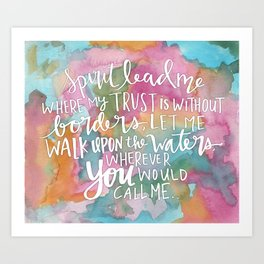 Spirit Lead Me - Inspirational Quote with pink flowers Art Print