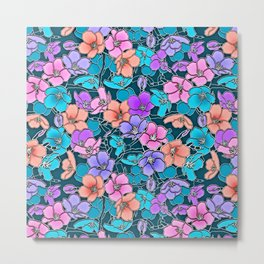 Modern abstract teal coral pink navy blue floral Metal Print