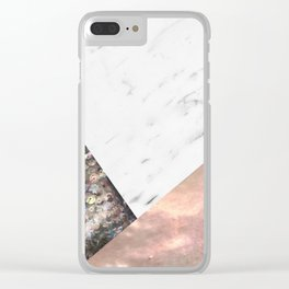 Marble with sequins and mother of pearl Clear iPhone Case