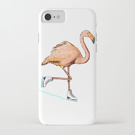 Flamingo on ice iPhone Case
