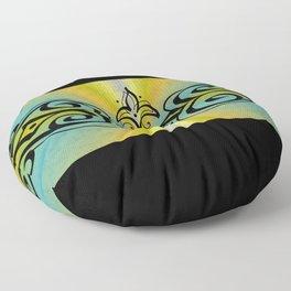 Black Ornaments on yellow blue rainbow Floor Pillow