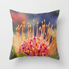 Tropical Sunburst - Leucospermum Pincushion Protea Flower Throw Pillow