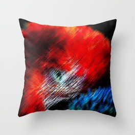 Bruce Hated Puppies - Scarlet Macaw Painting by Jeanpaul Ferro Throw Pillow