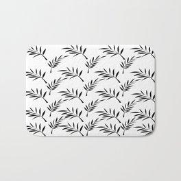 White and Black Leaf Design Bath Mat