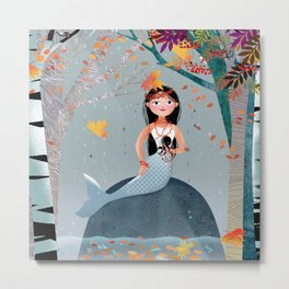 Milla Mermaid in the fall Metal Print