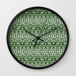 Greyhound fair isle christmas holidays pattern green and white dog gifts Wall Clock