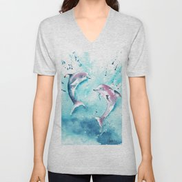 Dolphins at play  Unisex V-Neck