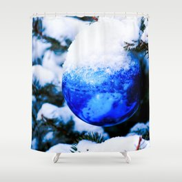 Blue Christmas Ornament Shower Curtain