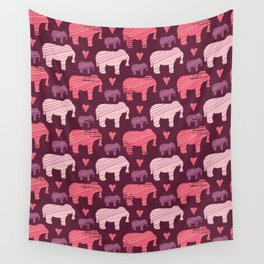Purple and Pink Kids Baby Elephants Silhouette Wall Tapestry