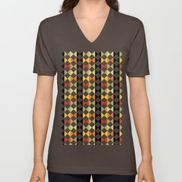 Checker diamond style colorful pattern with black and white Unisex V-Neck