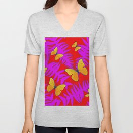 Modern RED Design  Fuchsia Fern Fronds With Yellow Butterflies Unisex V-Neck