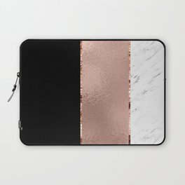 Rose metallic striping - marble and onyx Laptop Sleeve