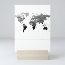 World Map - Ocean Texture - Black and White Mini Art Print