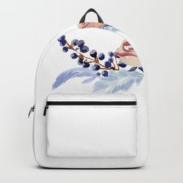 Vintage watercolor flowers roses and berries illustration Backpack