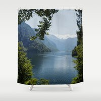 germany Shower Curtains featuring Germany, Malerblick, Koenigssee Lake by UtArt