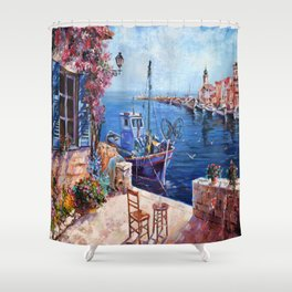 Morning at the Wharf Shower Curtain