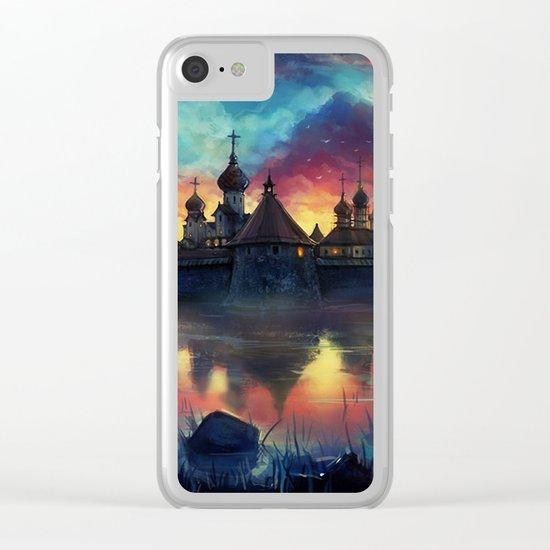 Watercolor landscape #reflection Clear iPhone Case