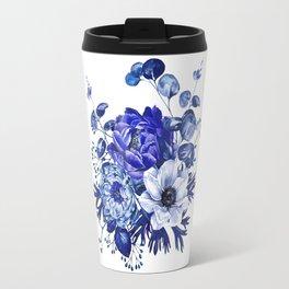 China Blue Porcelain, Asia, Peony, Flower, Floral, Cyan Travel Mug