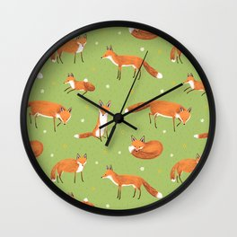 Red Foxes Wall Clock