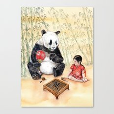 Playing Go with Panda Canvas Print