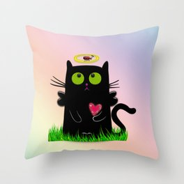 angel cat and ladybug Throw Pillow