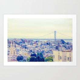 bridge and city view at San Francisco, USA Art Print
